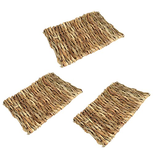 Ferret Edible Toy - UEETEK 3pcs/pack Pet Mat Grass Mats Safe Edible Mats Cages Chew Toys for Pets - Size 28x20CM