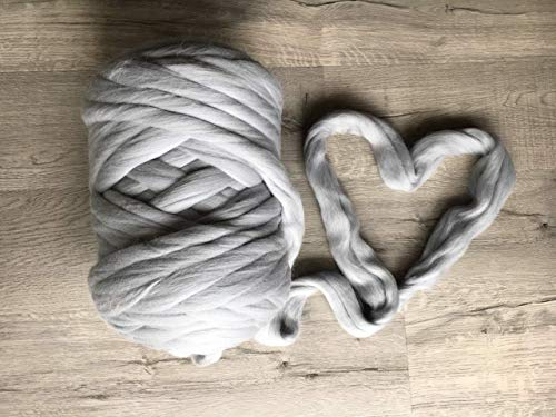 Merino wool yarn for chunky arm knitting blanket throw - fiber Super bulky soft giant knit DIY large crafts for handmade thick knitted blanket - huge yarn Row - Christmas gift idea from Wonddecor