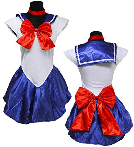 Sailor Moon Uranus Costume (C.X Trendy Sailor Moon Mars Costume Cosplay Uniform Fancy Party Dress & Gloves (M, Dark Blue))