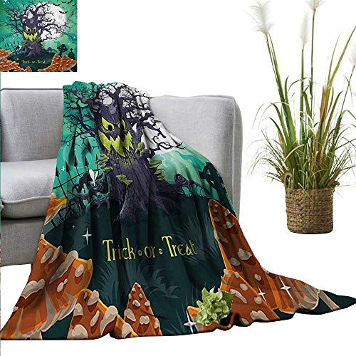 AndyTours Weighted Blanket,Halloween,Trick or Treat Dead Forest with Spooky Tree Graves Big Kids Cartoon Art Print,Multicolor,Indoor/Outdoor, Comfortable for All Seasons 60