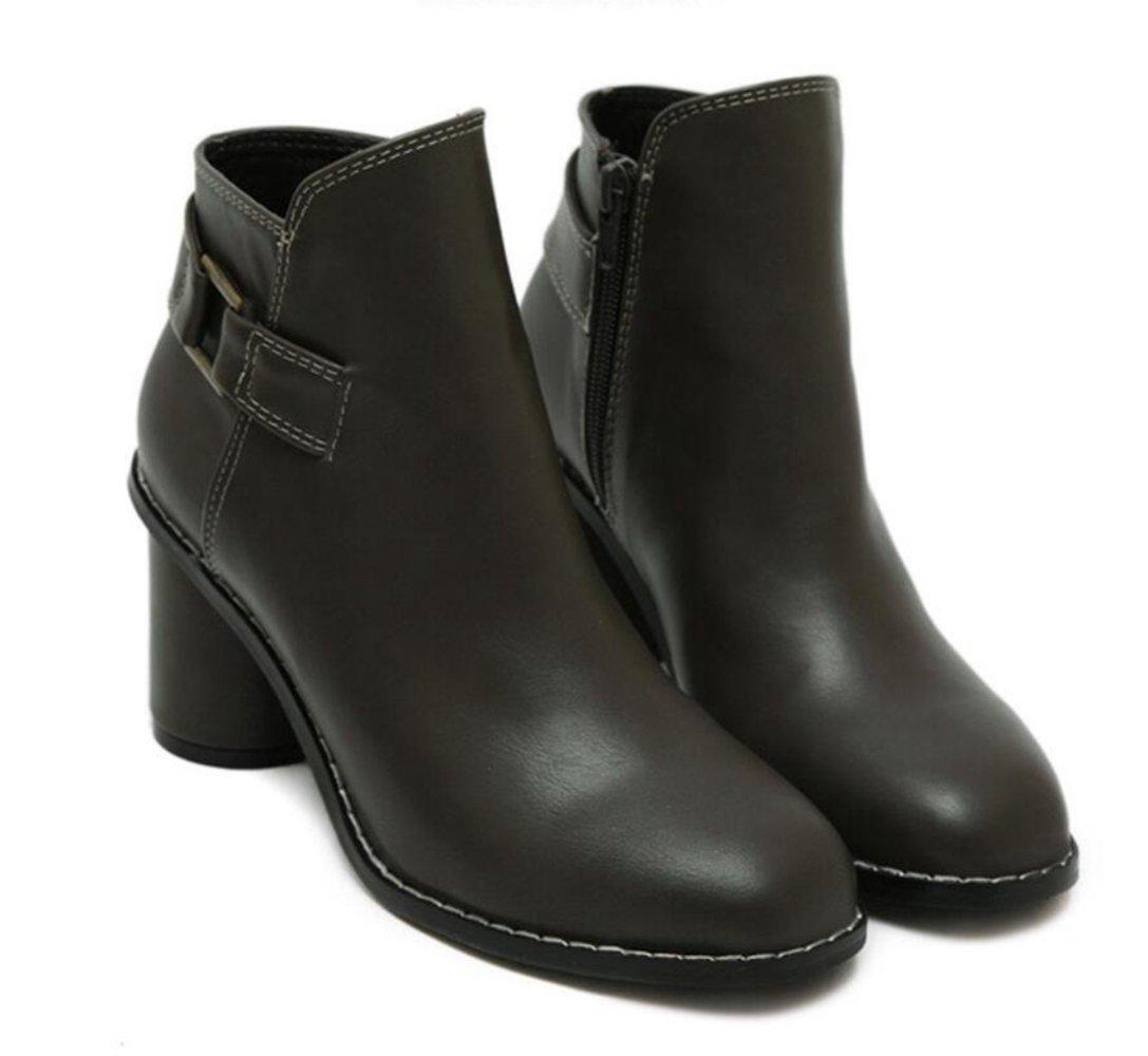 LINYI LINYI LINYI Damenschuhe Runde Kopf Chunky Heel High Heels Weibliche Neue Wild Side Schnalle Reißverschluss Damen Stiefel Ankle Stiefel 4c90f0