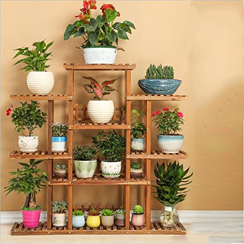 Wooden flower frame / balcony living room multi-storey indoor and outdoor flower pot rack / flower shelf ( Style : A ) by Flower racks