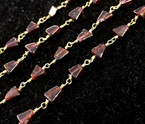 on shape beads, Garnet wire wrapped link chain connector, Garnet necklace jewelry (Link Necklace Gold Fancy Bead)