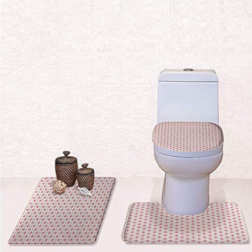 Print 3 Pcss Bathroom Rug Set Contour Mat Toilet Seat Cover,Pink Colored Ancient Lily Flower Motifs with Checkered Pattern French Heraldry Decorative with Pink Cream,decorate bathroom,entrance door