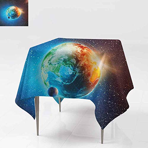 (DUCKIL Polyester Tablecloth Majestic Galaxy Outer Space View Universe with Planet Earth Stars Astral Theme Great for Buffet Table W70 xL70 Orange Blue Black)
