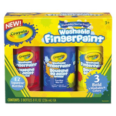 Washable Fingerpaint Pack, 3 Assorted Bold Colors, 8 oz Tubes, 3/Pack, Sold as 1 Each ()