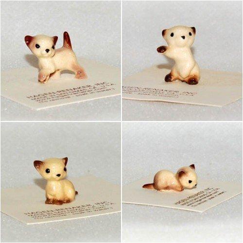 Hagen Renaker Ceramic Siamese Kittens, Set of 4: Boxing 00008, Walking 0004, Sitting 00368 and Lying 00369