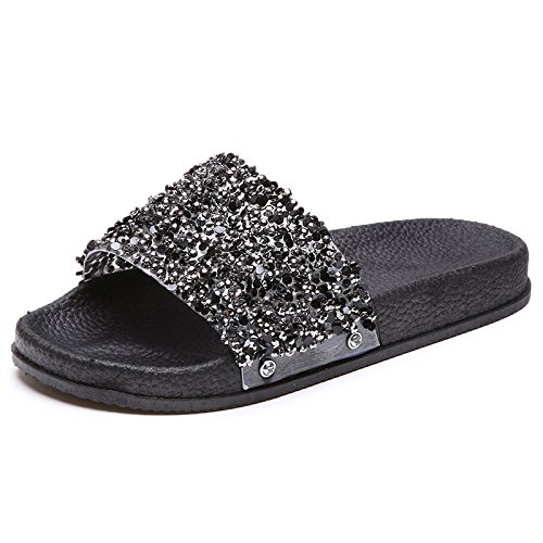 Candy Wordpad Fashion women Flat Beach Color Shoes Open Slippers Black Summer Lady slippers Casual Rhinestone Toe Y4qwY