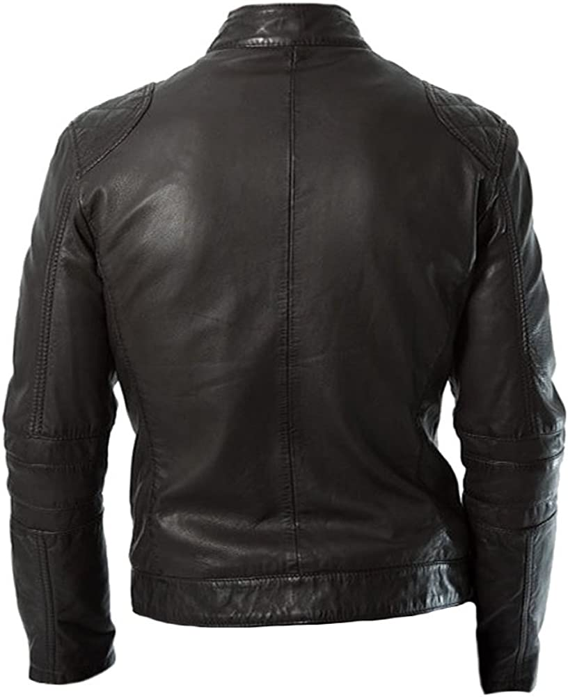 coolhides Mens Stylish Slimfit Fashion Leather Jacket Black