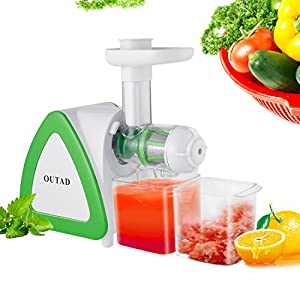 YKS Slow Masticating Juicer, 150W High Nutrition Juice Extractor, Less Oxidation, Silent Motor, Reverse Function with Juice, Pulp Jar and Cleaning Brush for Fruits and Vegetables
