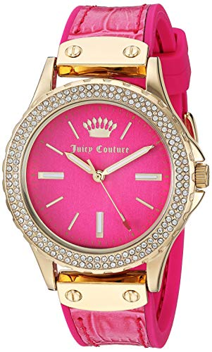Juicy Leather Pink Couture (Juicy Couture Black Label Women's  Swarovski Crystal Accented Gold-Tone and Hot Pink Leather Strap Watch)