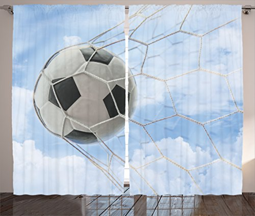 Ambesonne Sports Decor Collection, Soccer Ball in Goal with Cloudy Sky Summertime Outdoor Activities Sporting Image, Living Room Bedroom Curtain 2 Panels Set, 108 X 84 Inches, Blue White by Ambesonne