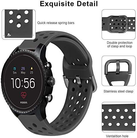 Abanen Watch Band for Fossil Gen 4 Explorist,22mm Soft Silicone Sport Waterproof Quick Release Wristband Strap for Fossil Gen 5 Carlyle/Julianna/Garrett,Fossil Hybrid,Samsung Galaxy Watch 46mm(Grey) 51vEg12SJzL
