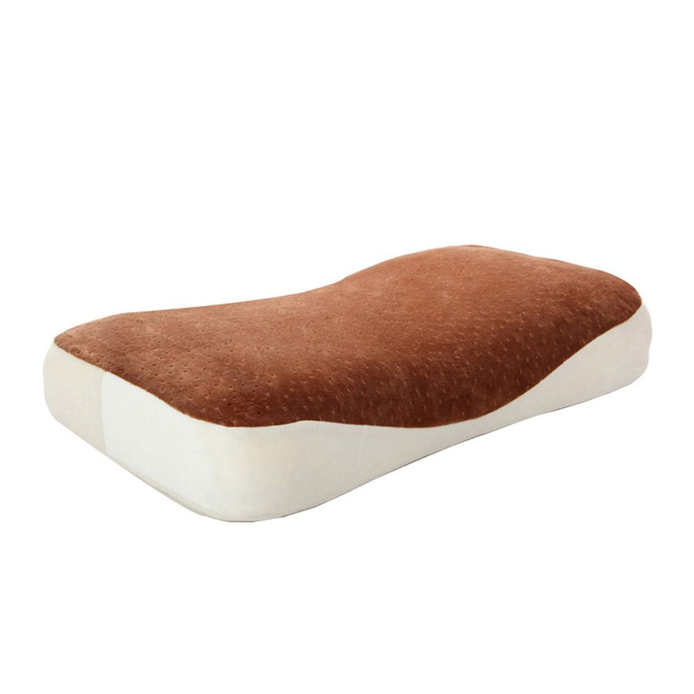 DIDIDD Students memory foam pillow health care neck nursing pillow7-16 years old use brown