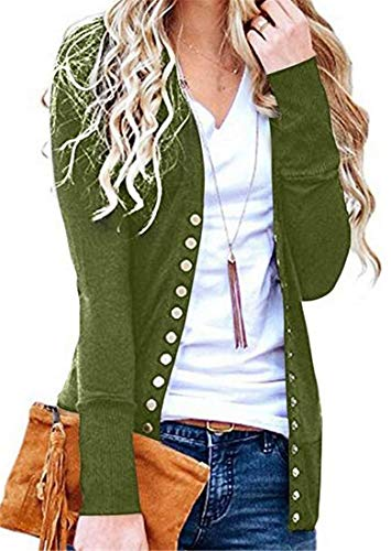 SELX Mujeres Basic sólido Cuello V Manga Larga botón Corto Chaqueta de Punto  suéter 9ccd05c1424f