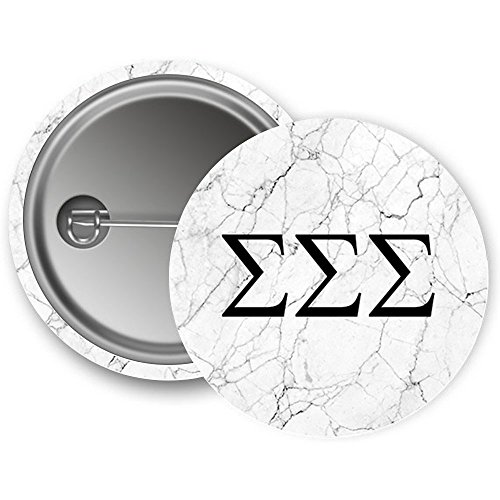 Sigma Sigma Sigma Sorority Light Marble with Black Letters Pin Back Badge 2.25-inch Button Tri-Sigma (Letter Tri Shirts Sigma)