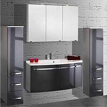 Badmöbel Set 4-teilig ● Anthrazit Hochglanz ● Badezimmer Komplettset:  Spiegelschrank, Waschtisch mit Unterschrank, 2x Hochschrank ● Schubladen &  Türen ...