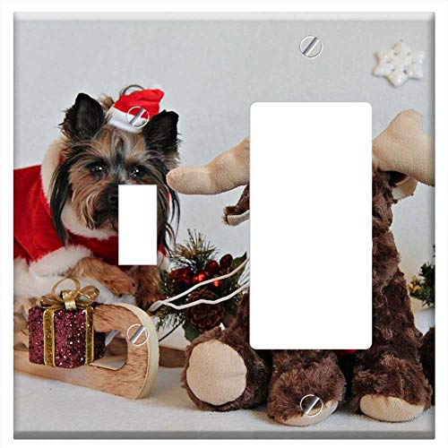 1-Toggle 1-Rocker/GFCI Combination Wall Plate Cover - Yorkshire Terrier Dog Christmas Sled Santa Cl
