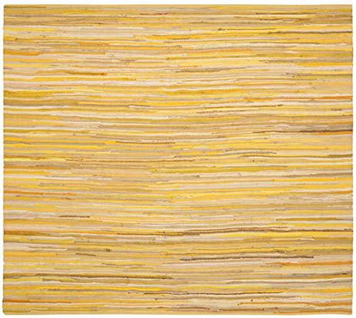 Safavieh Rag Rug Collection RAR130H Hand-Woven Yellow and Multi Flatweave Cotton Area Rug (4' - Handmade Rag Rug