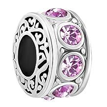Charmed Craft Filigree Charm Jan-Dec Birthstone Spacer Beads Sale Cheap Jewelry For Charm Bracelets