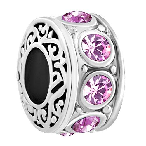 Q&Locket Filigree June Birthstone Charms Bead For Bracelet