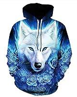 GLUDEAR 3D Realistic Animal Print Big Pockets Drawstring Pullover Hoodie Sweatshirt,Rose Wolf,S/M