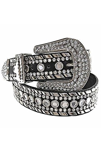 Black Gorgeous Rhinestone Studded Fancy Belt Size - Western Rhinestone Black Belt