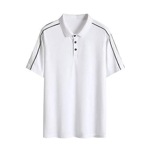 LiXiZhong Camisa Polo para Hombre Camisa De Manga Corta Botones ...