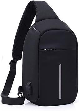 Mochila de Hombro Bolsas de Hombro Impermeable Crossbody Bolsa Sling Pecho Bolsas, Bolso Bandolera con puerto de carga USB Para Deportes Al Aire Libre