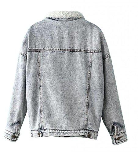 Meilaier Womens Washed White Denim Fleece Lined Winter Jacket Coat
