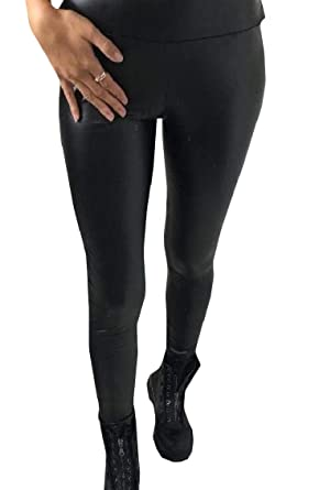 ce731a039c5f8 Sweatwater Women Classic High Rise Solid Color Tight Faux Leather Stretch  Leggings Black X-Small