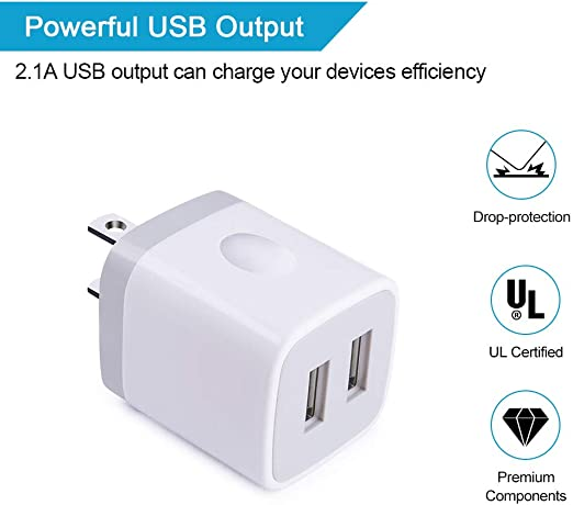 USB Wall Charger, Charging Block, Ououdee 5Pack 2.1A Quick Dual Port Plug Charger Box Cubes Compatible for iPhone XS Max/XR/X/8/7/6/6s, Samsung Galaxy ...