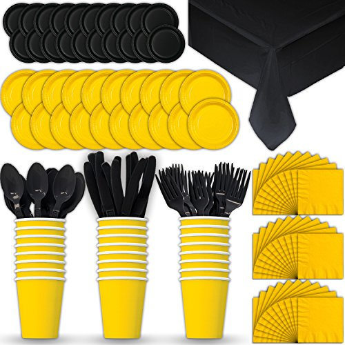Paper Tableware Set for 24 - Yellow & Black - Dinner and Dessert Plates, Cups, Napkins, Cutlery (Spoons, Forks, Knives), and Tablecloths - Full Two-Tone Party Supplies -