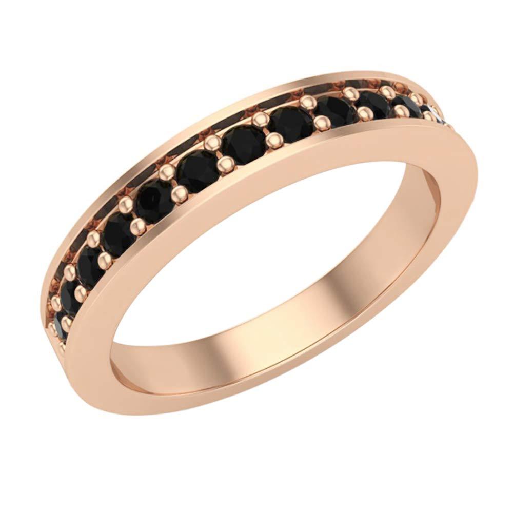 Halfway Semi-Eternity Black Diamond Wedding Ring/Band Comfort Fit 14K Rose Gold (Ring Size 6.5)