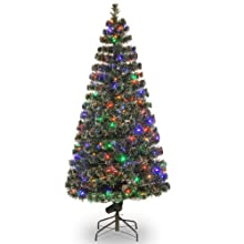 "National Tree 72-Inch Fiber Optic ""Evergreen"" Tree with 200 Multi LED Lights in a 16-Inch Stand"