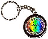 Zombie Outbreak Response Team - Black on Rainbow Round Spinning Keychain