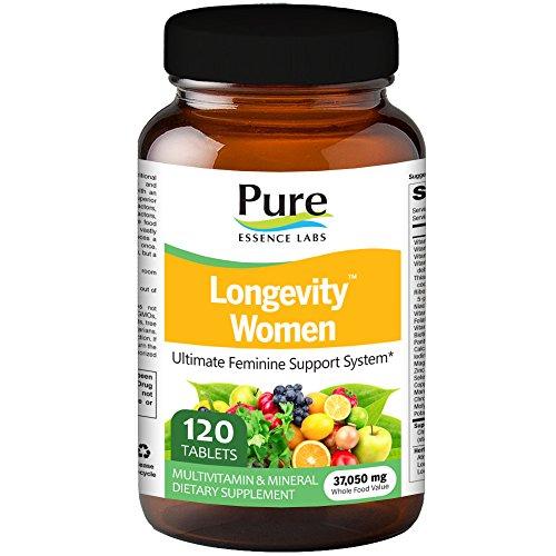 Pure Essence Labs Longevity Women's Formula - Anti Aging Multiple - 120 - 120 Tabs Trace Elements