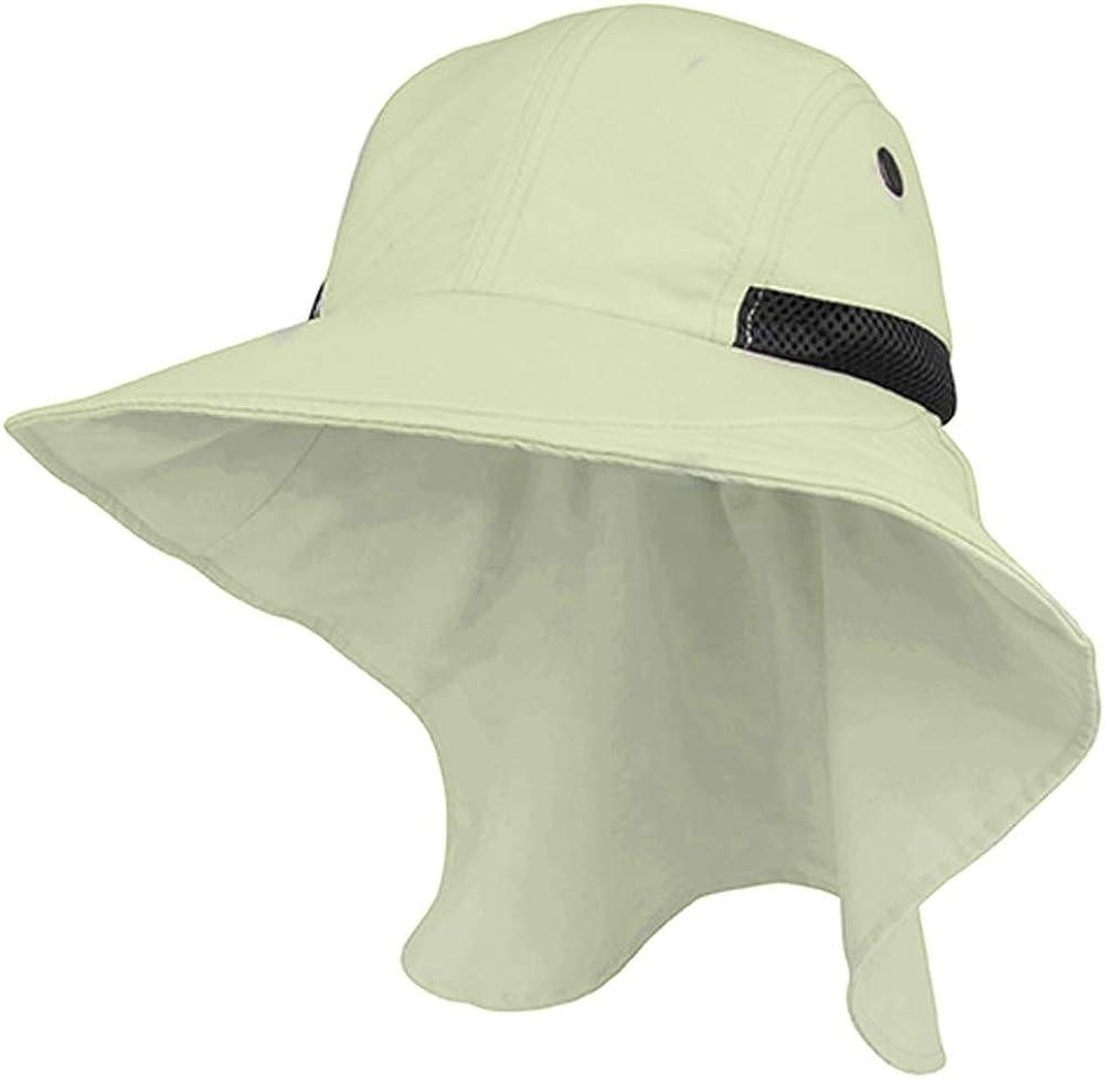 Juniper Mens Khaki Wide Brim Outdoor Sun Flap Hat