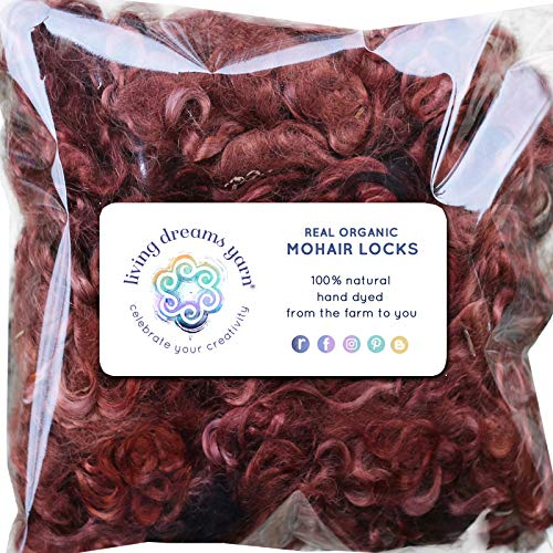 - Real Mohair Wool Locks, Organic Hand Dyed Fiber for Felting, Blending, Spinning, Knitting, Doll Hair and Embellishments. 1 Ounce Chestnut