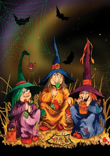 Toland Home Garden Candy Coven 28 x 40 Inch Decorative Halloween Witch Cauldron Brew House Flag