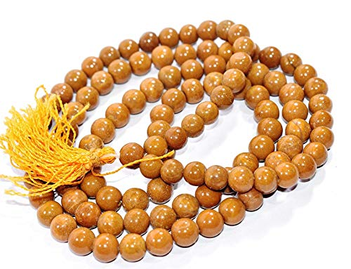 Pooja Gems 8mm Multi Colour Natural Agate Stone Mala (Brown Camel -
