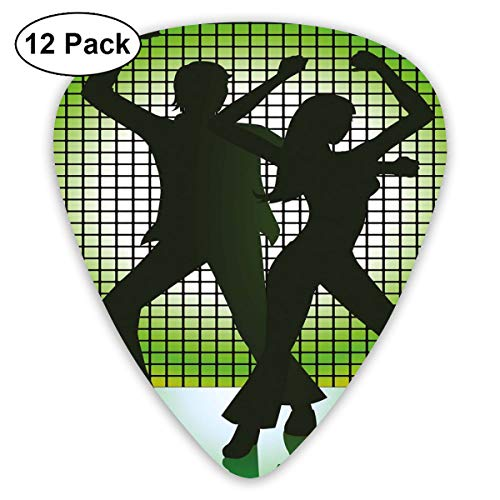 Guitar Picks 12-Pack,Silhouette Illustration Of Couple Dancing In Disco Love