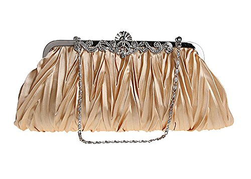 niceEshop(TM) Oro Bolso de Embrague Exquisita Cristal Plisado Decorativo de la Noche de Fiesta para Mujer Oro