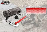 "Offroading Gear 50'x1/4"" Synthetic Winch Rope Kit w/Snap Hook and Rubber Stopper for 4x4/ATV/etc."