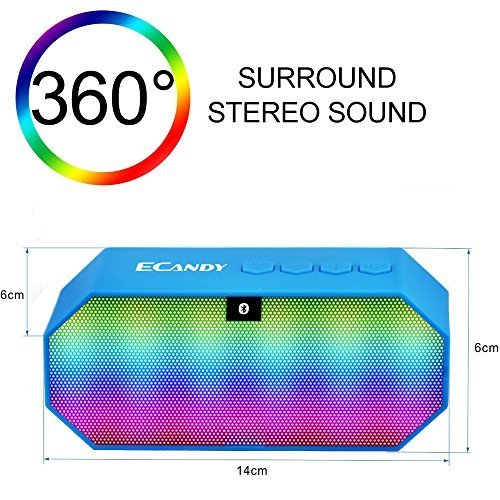 Ecandy Portable Wireless Bluetooth Speaker with LED,Built in Mic, Support Micro SD Card,FM Radio,Hands-free Speakerphone for iPhone,iPod,iPad Mini,iPad Air, Blackberry,Samsung,PC Laptop-Blue