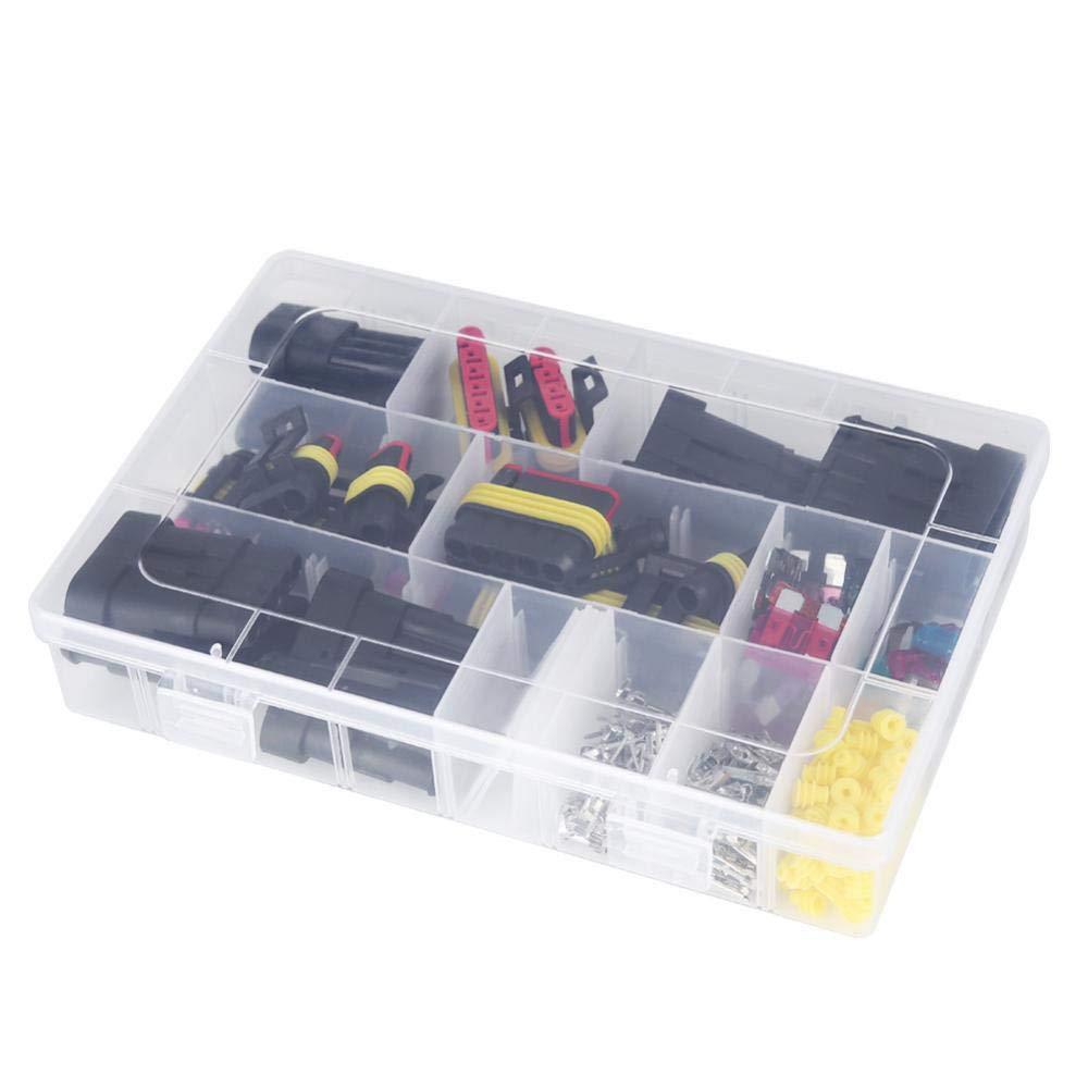 216 piezas 1//2//3//4//5//6 Pin Conector el/éctrico impermeable del enchufe del terminal Fusibles con caja Conector el/éctrico impermeable del coche