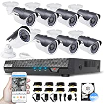 TECBOX 8 Channel Full 960H DVR Video Recorder with 8 Indoor Waterproof Cameras Home Security System 500GB Hard Drive Preinstalled