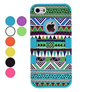 JJE Defender Series Green Tones Ethnic Style Hard Case with Interior Silicone Back Cover for iPhone 5/5S (Optional Colors) , Purple