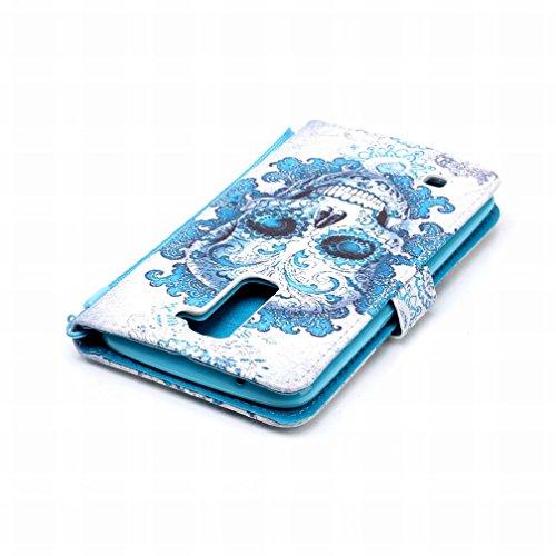 Yiizy LG K7 X210 MS330 Funda, Cráneo azul Diseño Solapa Flip Billetera Carcasa Tapa Estuches Premium PU Cuero Cover Cáscara Bumper Protector Slim Piel Shell Case Stand Ranura para Tarjetas Estilo