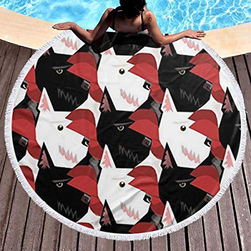Dlskjda Dog Scottie and Westie Round Beach Towel Blanket with Tassels,Beach Microfiber Round Beach Towel Picnic Carpet Yoga Mat